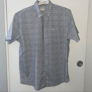 Light gray printed button down